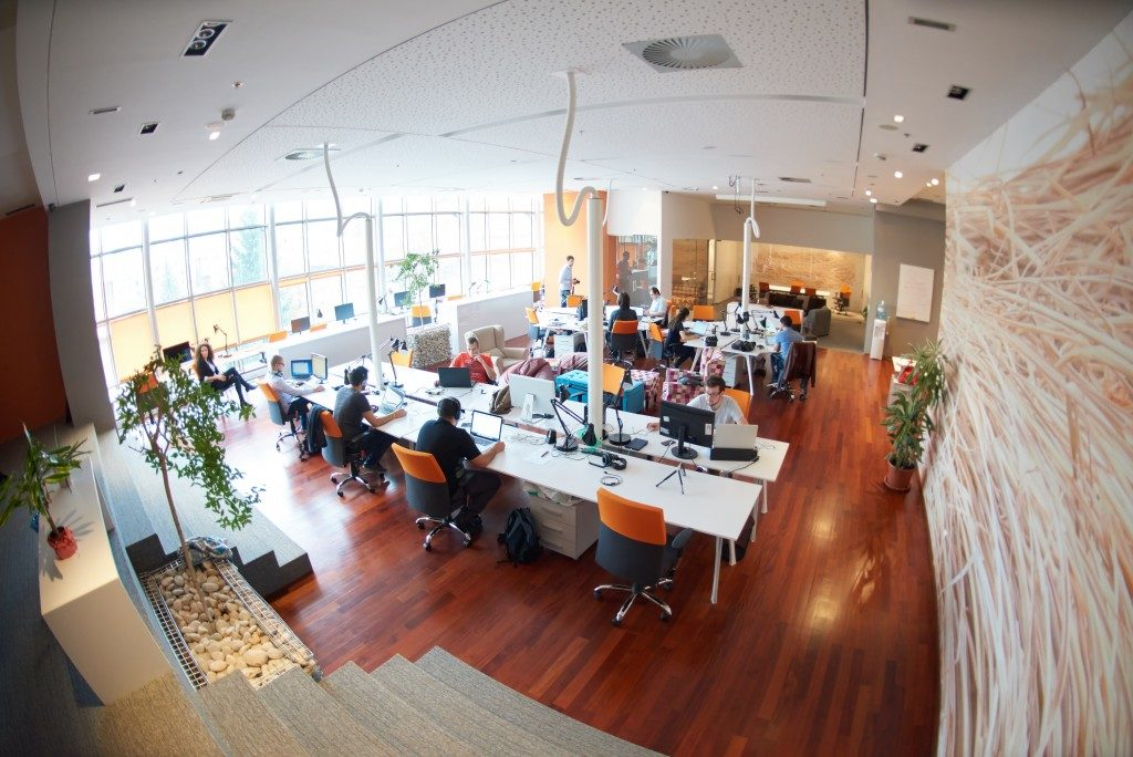 Employees working in an open office