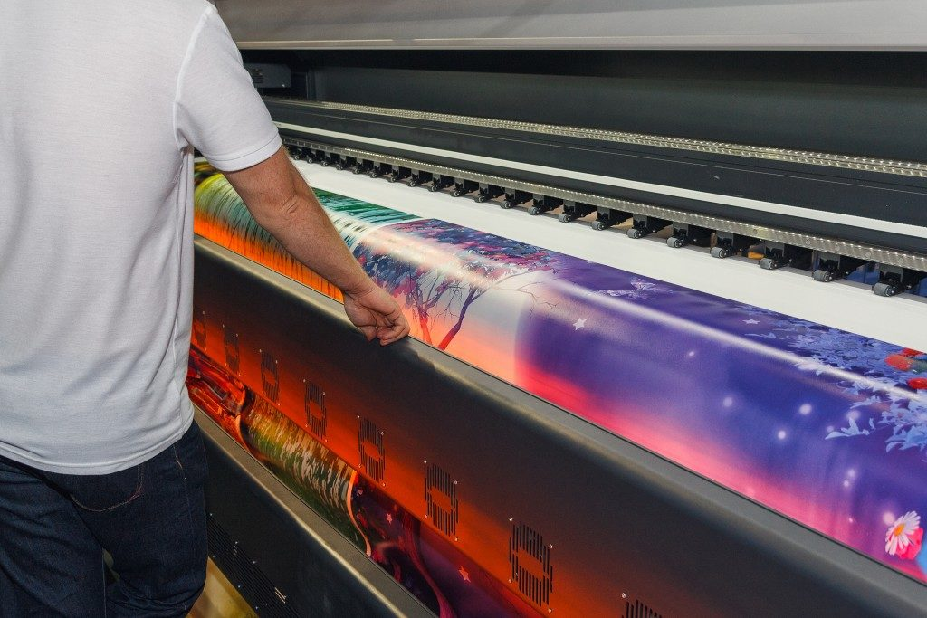 Wide format printer being checked