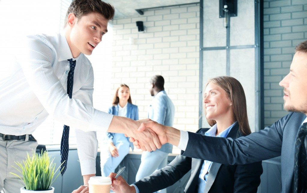 Job interview handshake