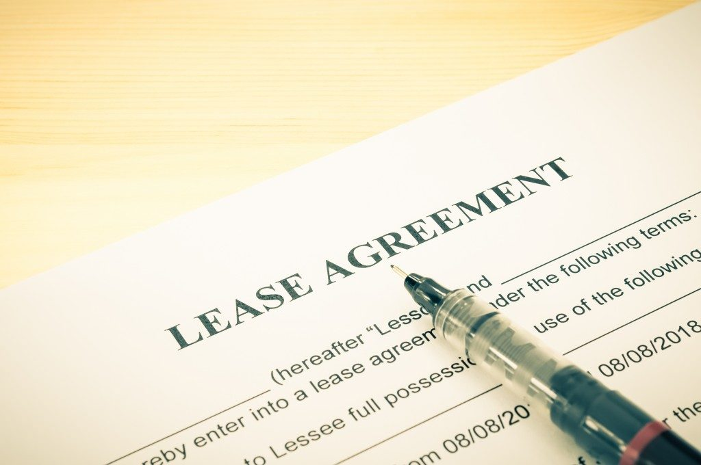 Lease agreement contract sheet