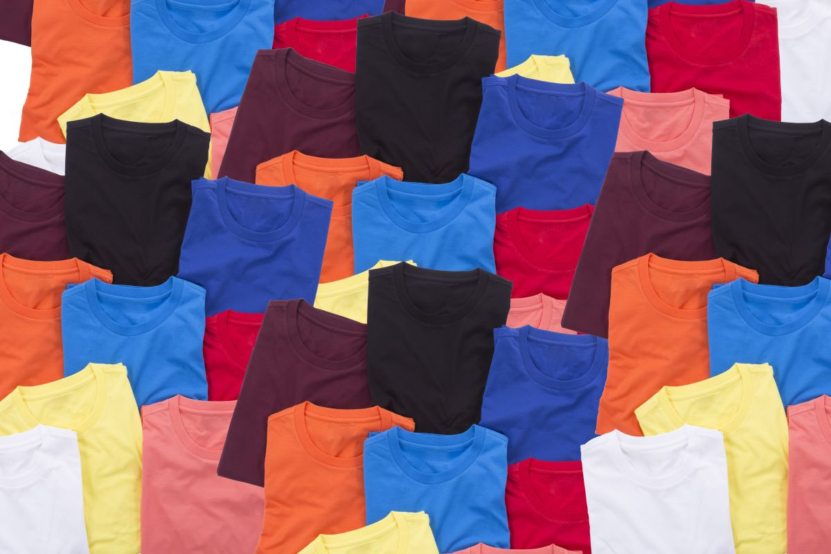 assorted plain colored shirts