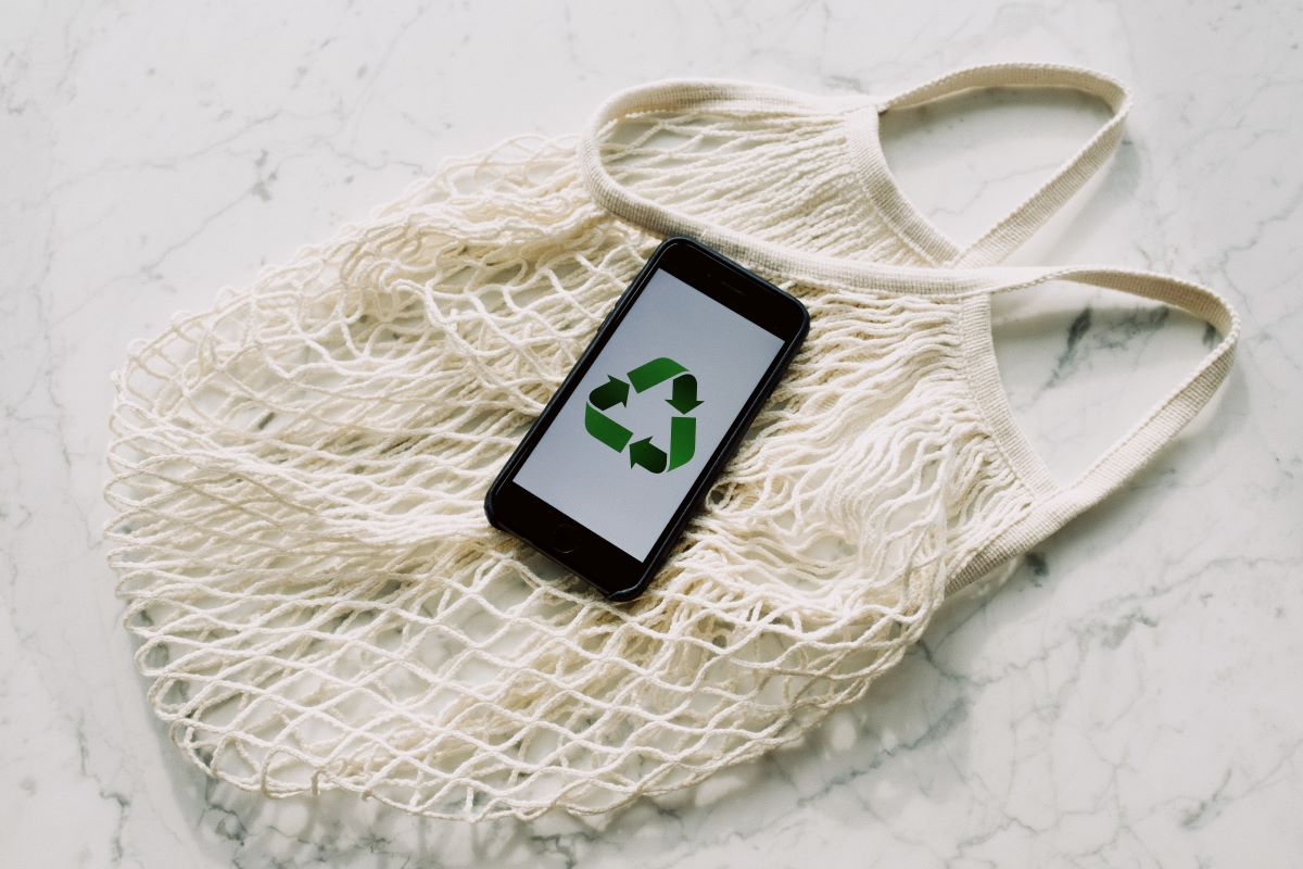 recycle logo phone net bag